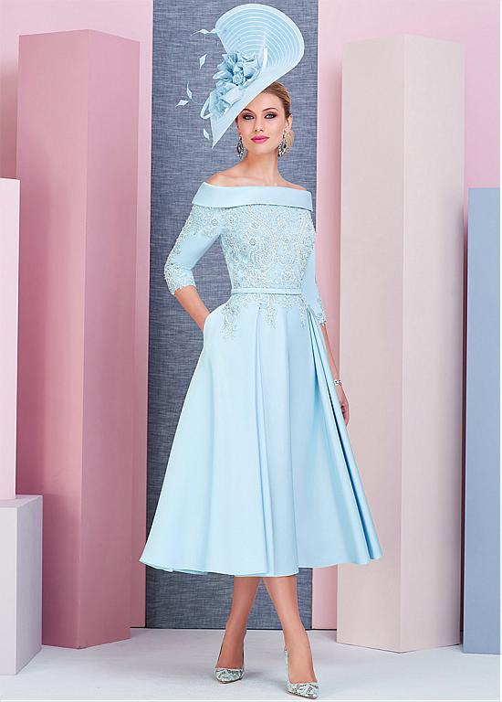 Stunning Satin Off-the-shoulder Neckline Tea-length A-line Mother Of The Bride Dress With Beaded Lace Appliques & Pockets