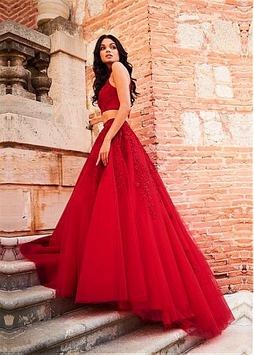 Exciting Tulle Illusion High Collar Floor-length A-line Prom Dress With Lace Appliques & Beadings & Rhinestones
