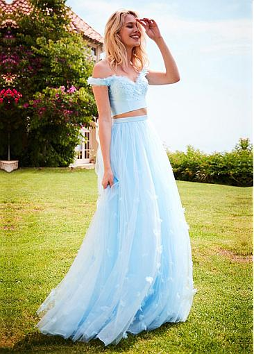 Fabulous Tulle & Satin Off-the-shoulder Floor-length A-line Prom Dress With 3D Flowers & Beadings