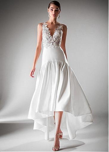 Modest Tulle & Satin V-neck Neckline Hi-lo A-line Prom Dress With Beadings & Lace Appliques