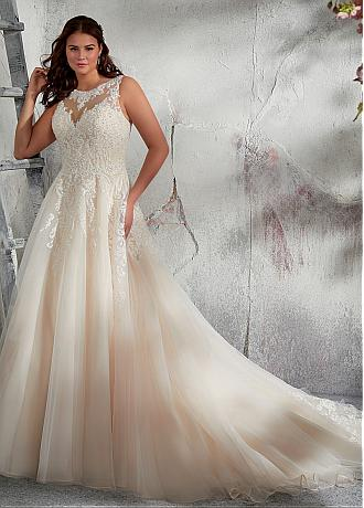 Wonderful Tulle Scoop Neckline A-line Plus Size Wedding Dress With Lace Appliques & Beadings