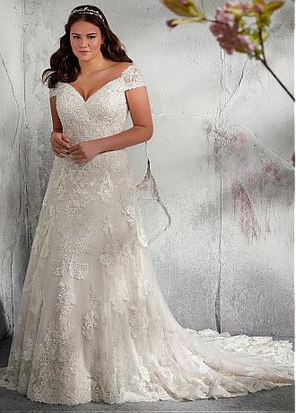 Modest Tulle Off-the-shoulder Neckline A-line Plus Size Wedding Dress With Lace Appliques & Beadings