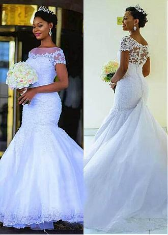 Charming Tulle Bateau Neckline Mermaid Wedding Dress With Beadings & Lace Appliques