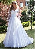 Fascinating Tulle V-neck Neckline A-line Wedding Dress With Lace Appliques & Beadings