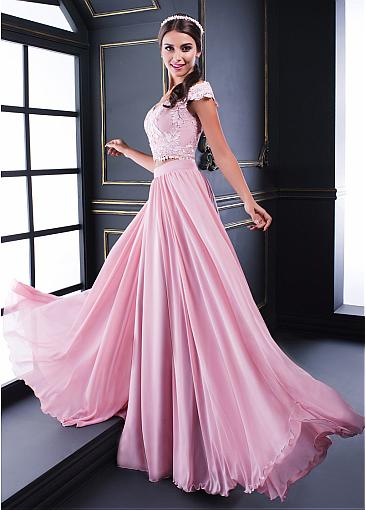 Fantastic Tulle & Chiffon Off-the-shoulder Neckline Two-piece A-line Prom Dresses With Lace Appliques