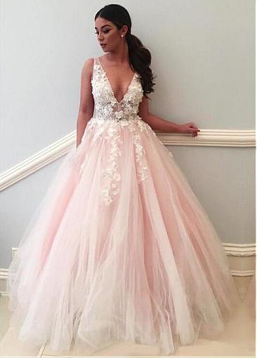 Modest Tulle V-neck Neckline Floor-length A-line Prom Dresses With Lace Appliques & Handmade Flowers & Beadings