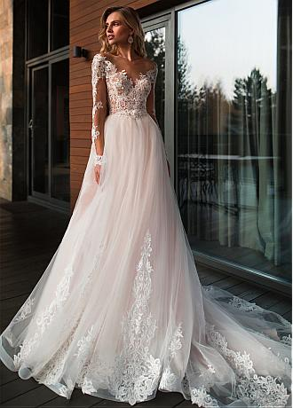 Stunning Tulle Jewel Neckline A-line Wedding Dresses With Beaded Lace Appliques