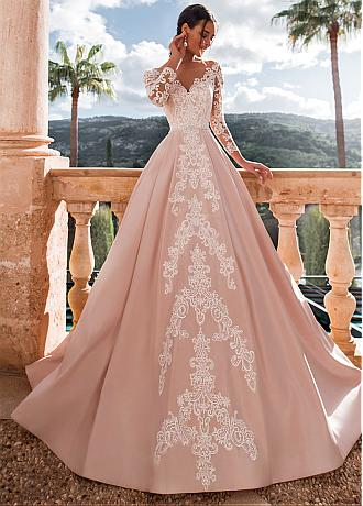 Alluring Tulle & Satin Bateau Neckline A-line Wedding Dresses With Beadings & Lace Appliques