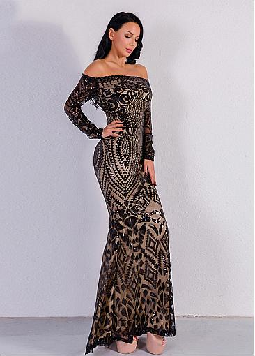 In Stock Newest Sequin Lace Off-the-shoulder Neckline Long Sleeves Sheath/Column Evening Dresses
