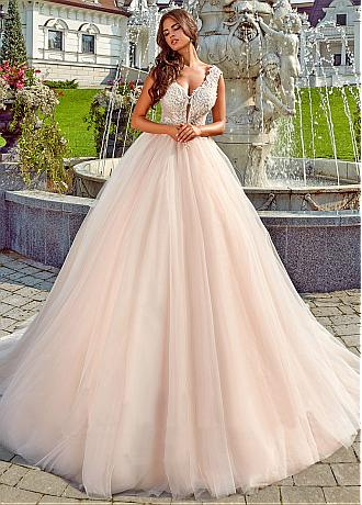 Glamorous Tulle V-neck Neckline Ball Gown Wedding Dresses With Beaded Lace Appliques