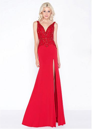 Conspicuous Tulle & Spandex V-neck Neckline Mermaid Prom/Evening Dresses With Beadings
