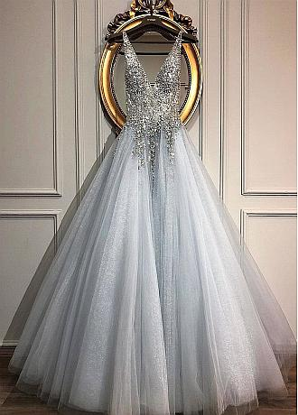 Fashionable Tulle V-neck Neckline A-line Wedding Dresses With Beadings