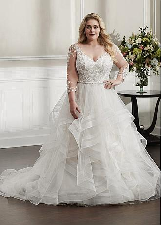Glamorous Tulle V-neck Neckline A-line Plus Size Wedding Dresses With Beaded Lace Appliques & Beadings