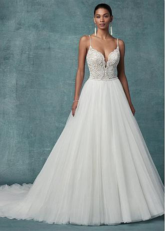 Charming Tulle Spaghetti Straps Neckline A-line Wedding Dresses With Lace Appliques & Beadings