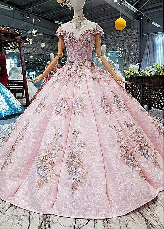 Fantastic Lace Off-the-shoulder Neckline Ball Gown Wedding Dresses With Handmade Flowers & Embroidery & Beadings